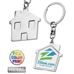 House Shaped Metal Keychain-Full Color Dome