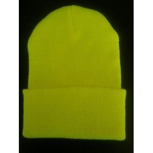 High Visibility Safety Yellow Acrylic Knit Hat. USA Made
