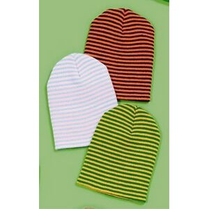 Fine Rib Acrylic Knit Cuff Hat with Stripes. USA Made