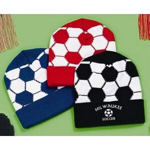 Soccer Design Acrylic Knit Hat, Knit Cap. USA Made