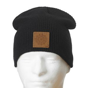 "9"" Super Soft Acrylic Beanie with Leather Patch"