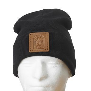 "12"" Cotton-Blend Fold-over Beanie with Leather Patch"