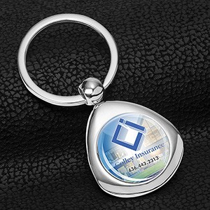 """Geo"" Economy Metal Keyholder with PhotoImage Full Color Domed Imprint"