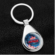 "Raindrop"" Economy Metal Keyholder with PhotoImage Full Color Domed Imprint"