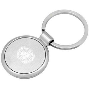 Round Key Chain in Dual Tone Silver