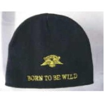 Embroidered Knit Beanie Cap/ Born To Be Wild (1 Size)