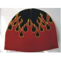 Embroidered Knit Beanie Cap W/ Red Flame (1 Size)
