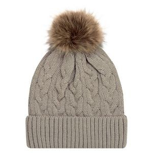 Jacquard cable knit toque with Faux Fur Pom Pom 12cm