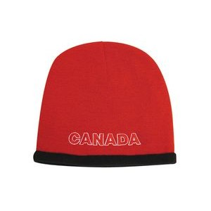Roll Down Acrylic & Polar Fleece Beanie Cap (Embroidered)