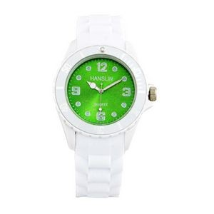 Sports Silicone Analog Wrist Watch- Green Face