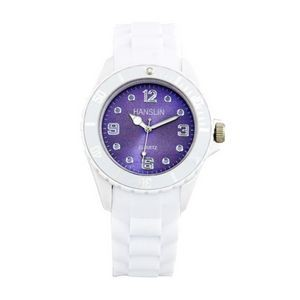 Sports Silicone Analog Wrist Watch- Purple Face