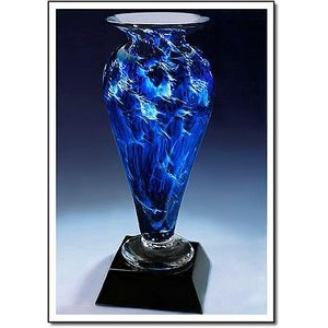 "Midnight Tempest Athena Art Glass Vase w/ Marble Base (3.25""x7"")"